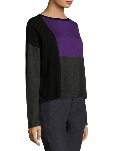 Eileen Fisher Cotton Colorblock Sweater - Lyst