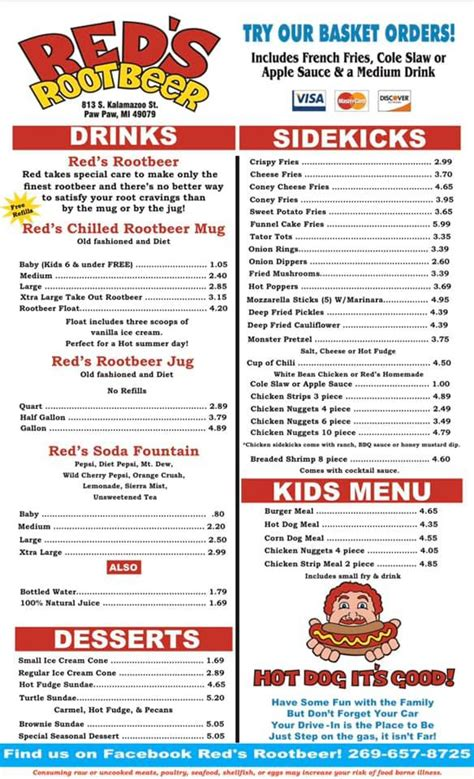 Red's Root Beer! - Home - Paw Paw, Michigan - Menu, Prices