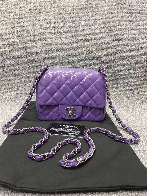 AUTHENTIC CHANEL 2017 PURPLE QUILTED PATENT LEATHER SQUARE