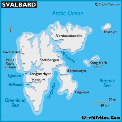 Svalbard Map and Map of Svalbard Spitsbergen Size History