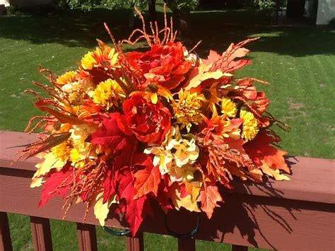 Fall Headstone Saddle   Funeral floral arrangements, Grave